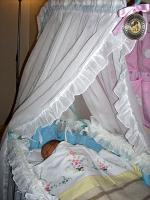 Gaia nella culla (dove ha dormito anche il suo papà, la nonna ecc…)